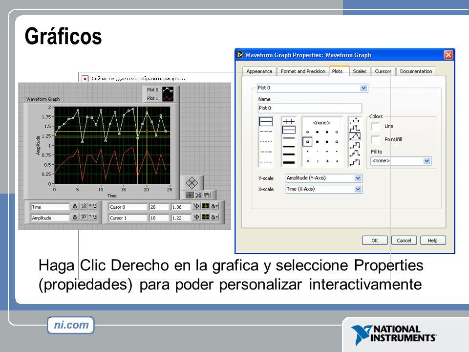 Gráficos Haga Clic Derecho en la grafica y seleccione Properties (propiedades) para poder personalizar interactivamente