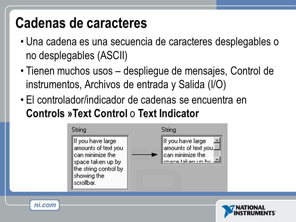 Cadenas de caracteres Una cadena es una secuencia de caracteres desplegables o no desplegables (ASCII) Tienen muchos usos – despliegue de mensajes, Co