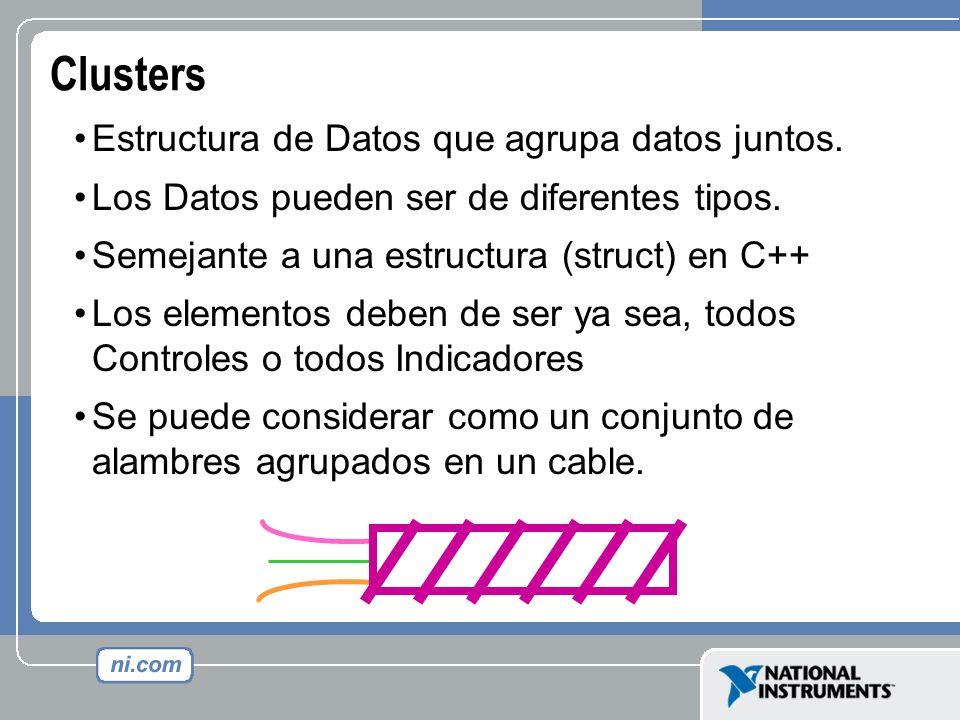 Clusters Estructura de Datos que agrupa datos juntos. Los Datos pueden ser de diferentes tipos. Semejante a una estructura (struct) en C++ Los element