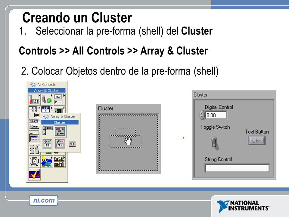 Creando un Cluster 1.Seleccionar la pre-forma (shell) del Cluster Controls >> All Controls >> Array & Cluster 2. Colocar Objetos dentro de la pre-form
