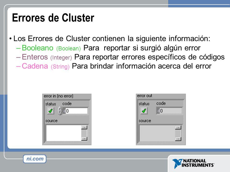Errores de Cluster Los Errores de Cluster contienen la siguiente información: –Booleano (Boolean) Para reportar si surgió algún error –Enteros (Intege