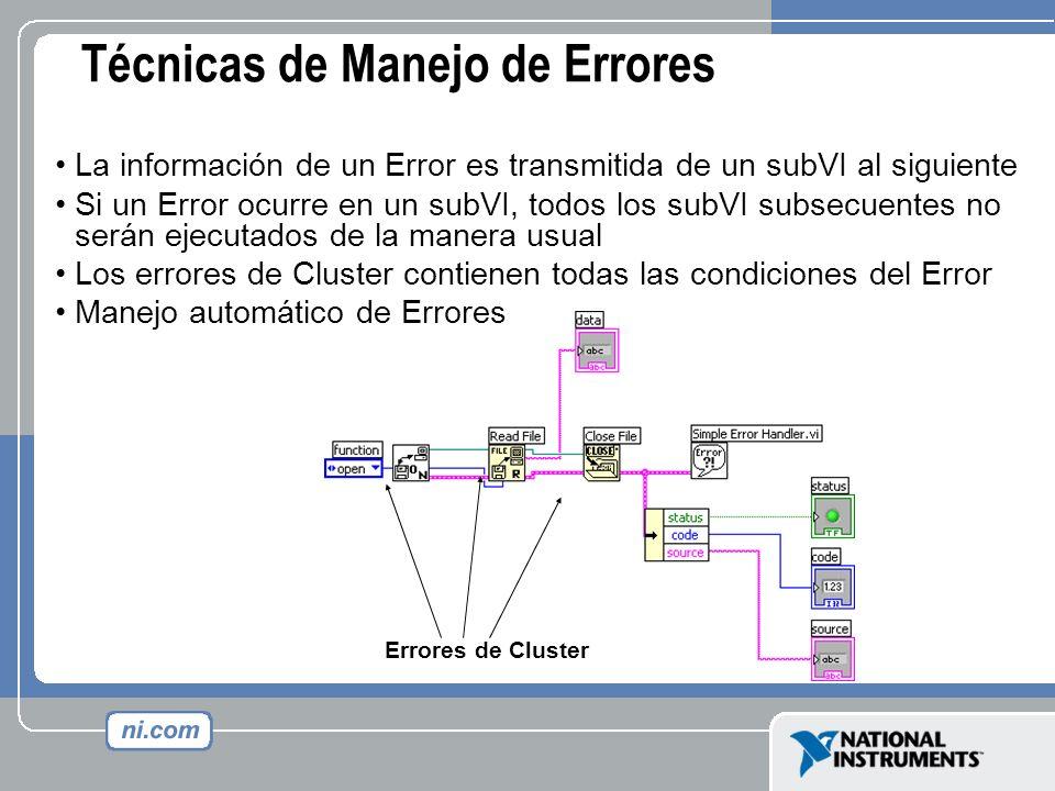 Técnicas de Manejo de Errores La información de un Error es transmitida de un subVI al siguiente Si un Error ocurre en un subVI, todos los subVI subse