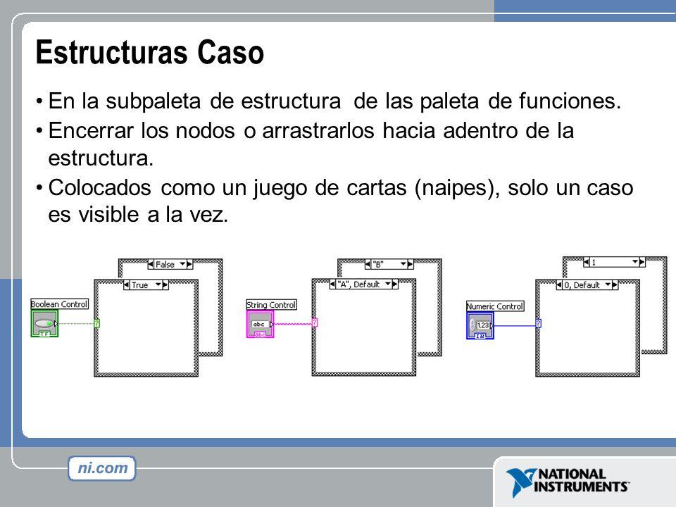 Estructuras Caso En la subpaleta de estructura de las paleta de funciones. Encerrar los nodos o arrastrarlos hacia adentro de la estructura. Colocados