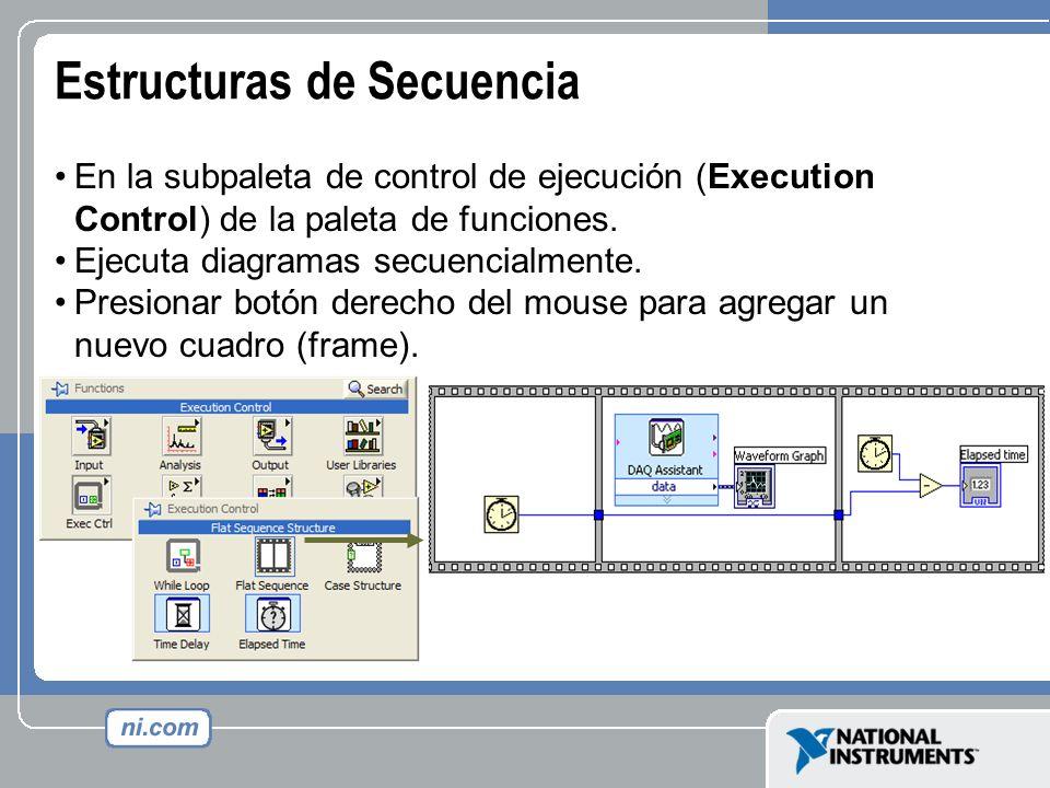 Estructuras de Secuencia En la subpaleta de control de ejecución (Execution Control) de la paleta de funciones. Ejecuta diagramas secuencialmente. Pre