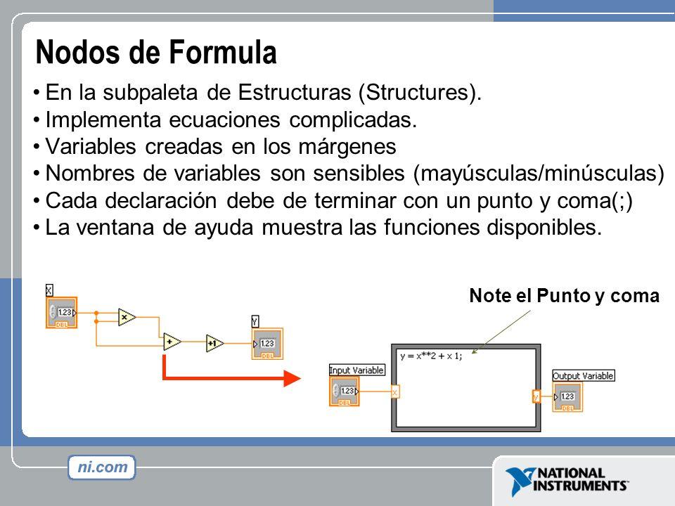 Nodos de Formula En la subpaleta de Estructuras (Structures). Implementa ecuaciones complicadas. Variables creadas en los márgenes Nombres de variable