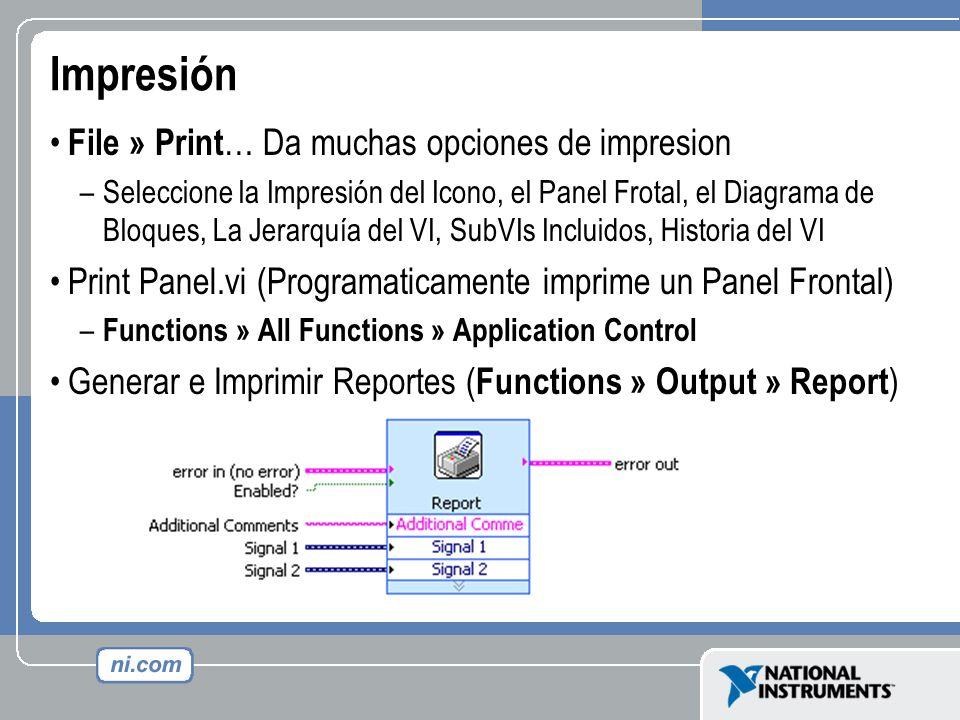 Impresión File » Print … Da muchas opciones de impresion –Seleccione la Impresión del Icono, el Panel Frotal, el Diagrama de Bloques, La Jerarquía del