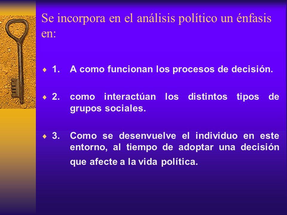 Se incorpora en el análisis político un énfasis en: 1. A como funcionan los procesos de decisión. 2. como interactúan los distintos tipos de grupos so