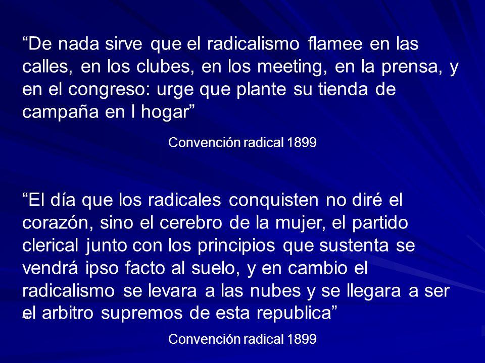 Convención radical 1899 De nada sirve que el radicalismo flamee en las calles, en los clubes, en los meeting, en la prensa, y en el congreso: urge que