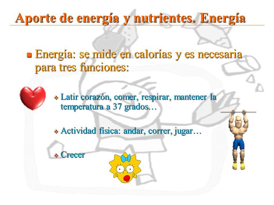 15 Aporte de energía y nutrientes. Energía Energía: se mide en calorías y es necesaria para tres funciones: Energía: se mide en calorías y es necesari