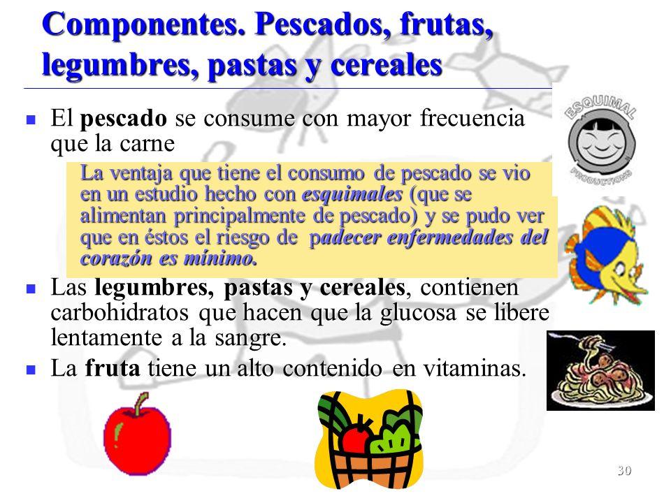 30 Componentes. Pescados, frutas, legumbres, pastas y cereales El pescado se consume con mayor frecuencia que la carne El pescado se consume con mayor