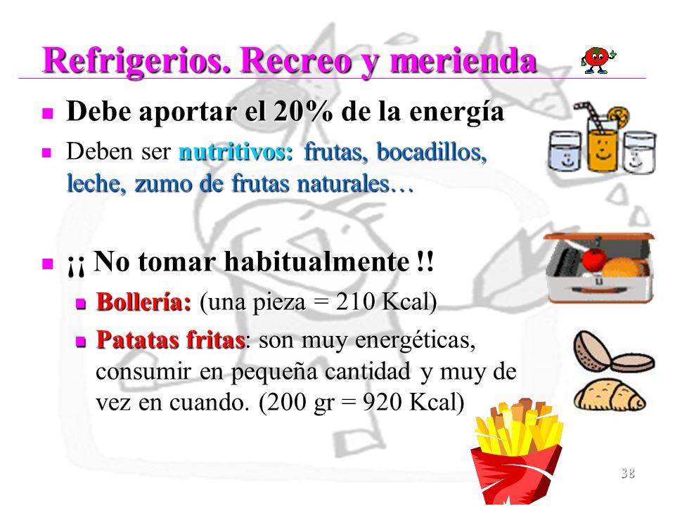 38 Refrigerios. Recreo y merienda Refrigerios. Recreo y merienda Debe aportar el 20% de la energía Debe aportar el 20% de la energía Deben ser nutriti