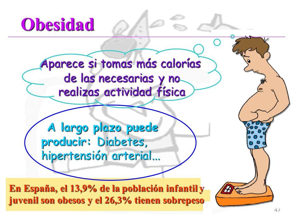47 Aparece si tomas más calorías de las necesarias y no realizas actividad física Aparece si tomas más calorías de las necesarias y no realizas activi
