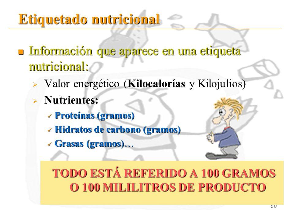 50 Etiquetado nutricional Información que aparece en una etiqueta nutricional: V Valor energético (Kilocalorías y Kilojulios) N Nutrientes: Proteínas