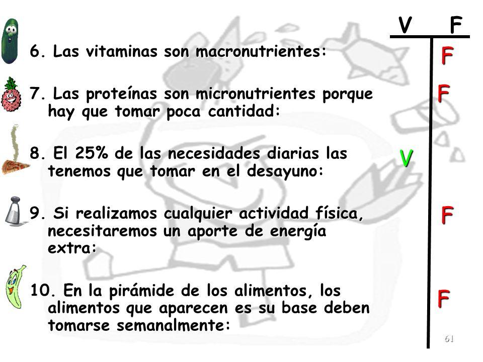 61 6. Las vitaminas son macronutrientes: 7. Las proteínas son micronutrientes porque hay que tomar poca cantidad: 8. El 25% de las necesidades diarias