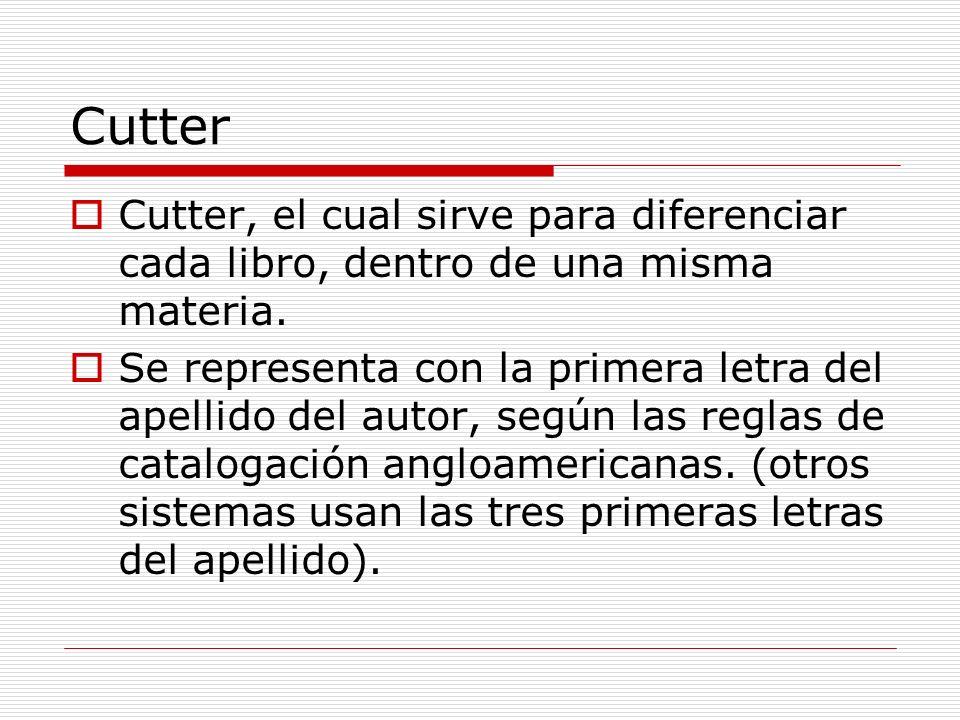 Cutter Cutter, el cual sirve para diferenciar cada libro, dentro de una misma materia. Se representa con la primera letra del apellido del autor, segú