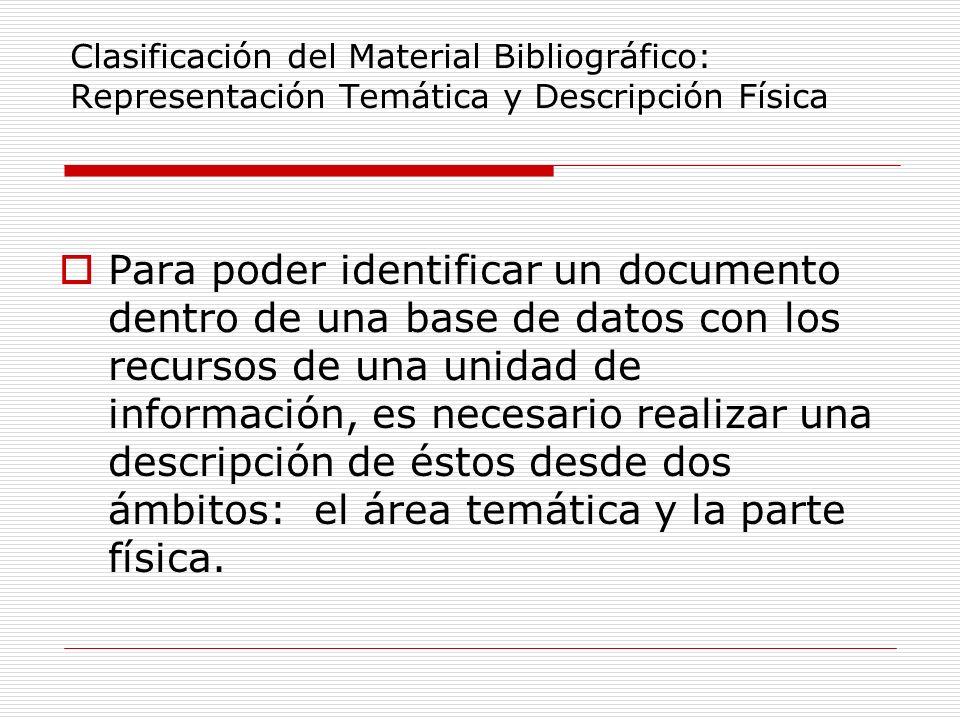 Clasificación del Material Bibliográfico: Representación Temática y Descripción Física Para poder identificar un documento dentro de una base de datos