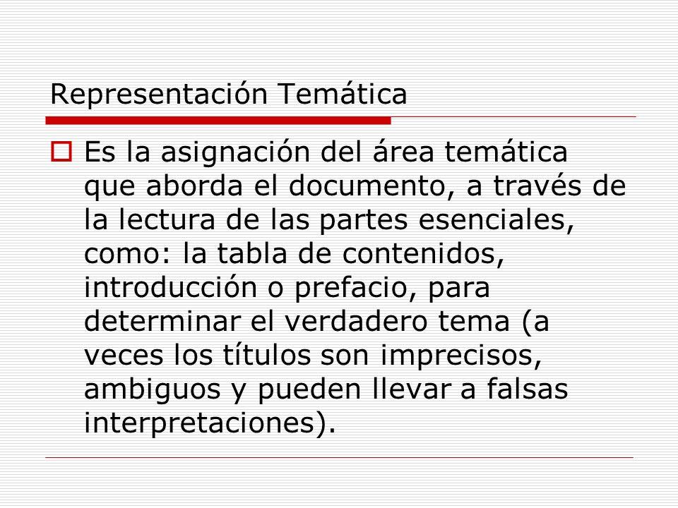 Representación Temática Es la asignación del área temática que aborda el documento, a través de la lectura de las partes esenciales, como: la tabla de
