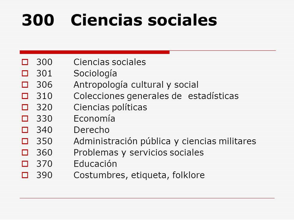 300 Ciencias sociales 301 Sociología 306 Antropología cultural y social 310 Colecciones generales de estadísticas 320 Ciencias políticas 330 Economía