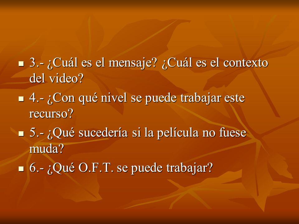 3.- ¿Cuál es el mensaje? ¿Cuál es el contexto del video? 3.- ¿Cuál es el mensaje? ¿Cuál es el contexto del video? 4.- ¿Con qué nivel se puede trabajar