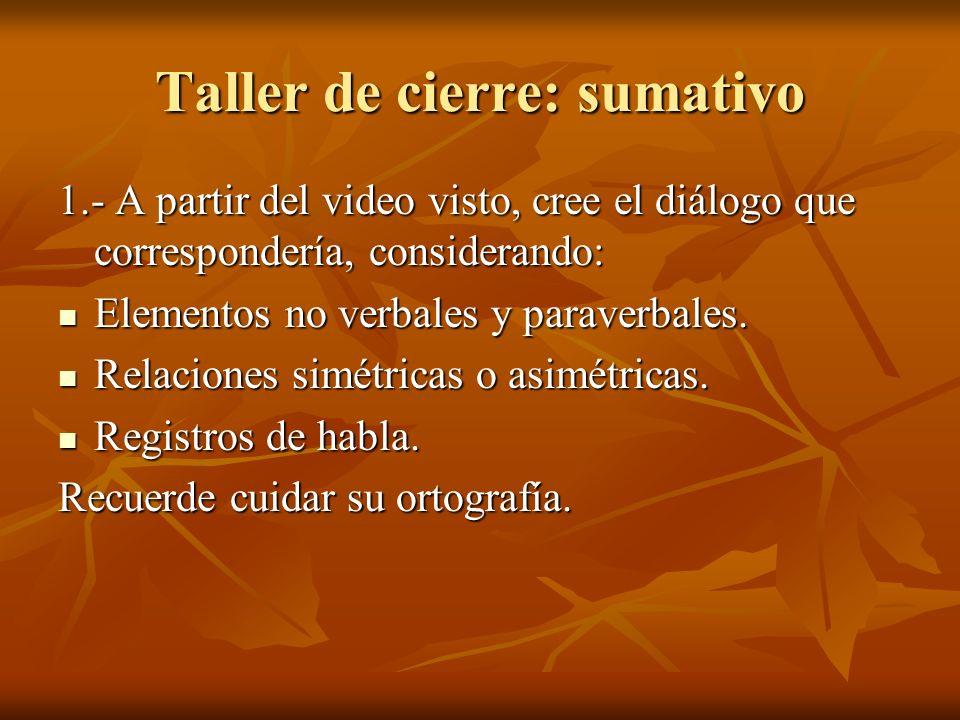 Taller de cierre: sumativo 1.- A partir del video visto, cree el diálogo que correspondería, considerando: Elementos no verbales y paraverbales. Eleme