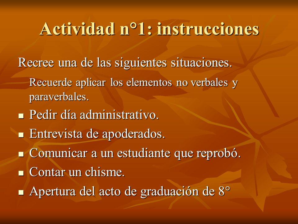 Actividad n°1: instrucciones Recree una de las siguientes situaciones. Recuerde aplicar los elementos no verbales y paraverbales. Pedir día administra