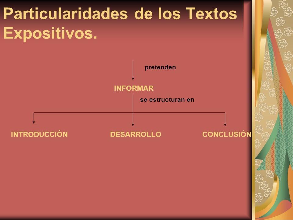 Particularidades de los Textos Expositivos. pretenden INFORMAR se estructuran en INTRODUCCIÓNCONCLUSIÓNDESARROLLO