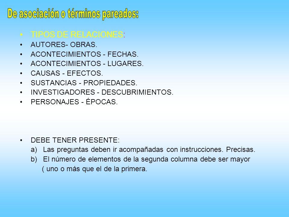 TIPOS DE RELACIONES: AUTORES- OBRAS. ACONTECIMIENTOS - FECHAS. ACONTECIMIENTOS - LUGARES. CAUSAS - EFECTOS. SUSTANCIAS - PROPIEDADES. INVESTIGADORES -