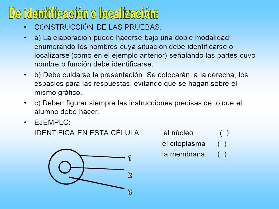 CONSTRUCCIÓN DE LAS PRUEBAS: a) La elaboración puede hacerse bajo una doble modalidad: enumerando los nombres cuya situación debe identificarse o loca