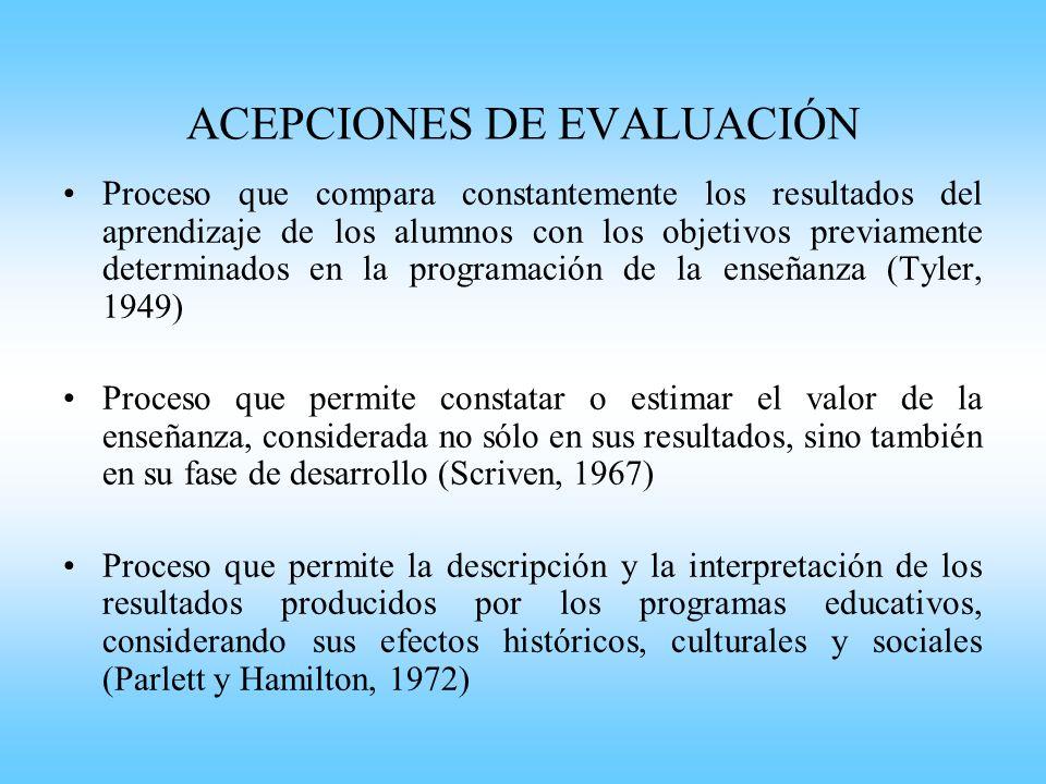 ACEPCIONES DE EVALUACIÓN Proceso de delinear, obtener, y procesar información útil para juzgar alternativas de decisión (Stufflebeam, 1979) Proceso de indagación sobre el valor educativo de un programa, de su importancia, exigencias y significados.