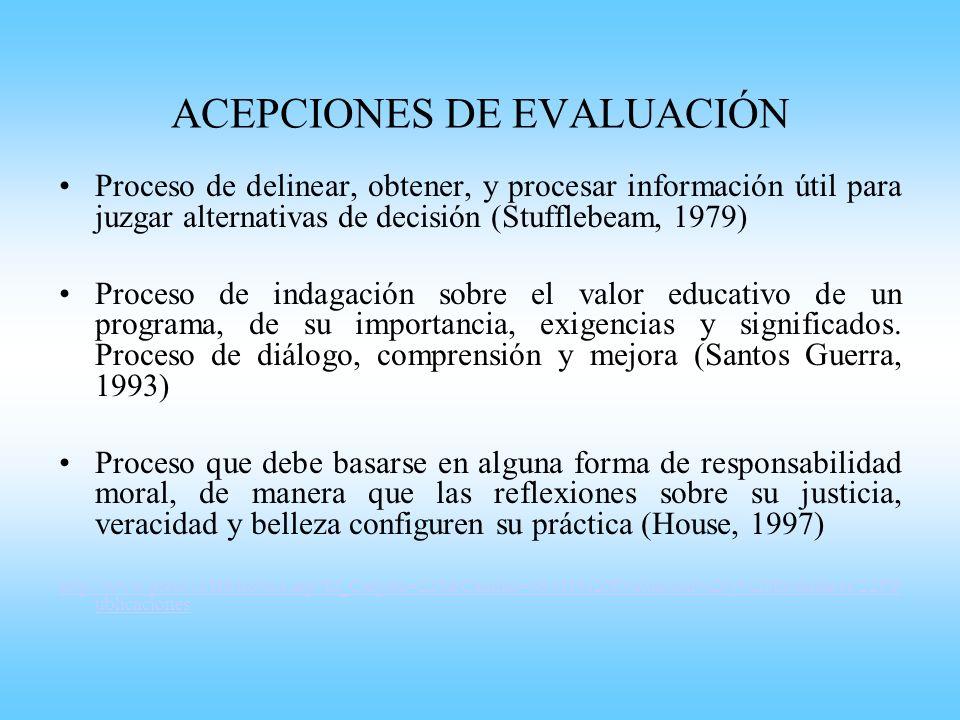 ACEPCIONES DE EVALUACIÓN Proceso de delinear, obtener, y procesar información útil para juzgar alternativas de decisión (Stufflebeam, 1979) Proceso de