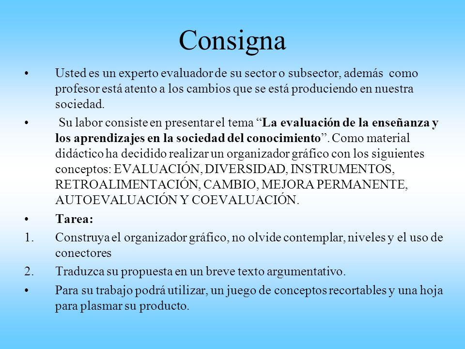 Consigna Usted es un experto evaluador de su sector o subsector, además como profesor está atento a los cambios que se está produciendo en nuestra soc