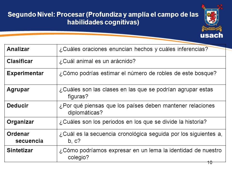 10 Segundo Nivel: Procesar (Profundiza y amplía el campo de las habilidades cognitivas) Analizar¿Cuáles oraciones enuncian hechos y cuáles inferencias