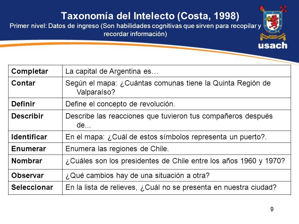 9 Taxonomía del Intelecto (Costa, 1998) Primer nivel: Datos de ingreso (Son habilidades cognitivas que sirven para recopilar y recordar información) C