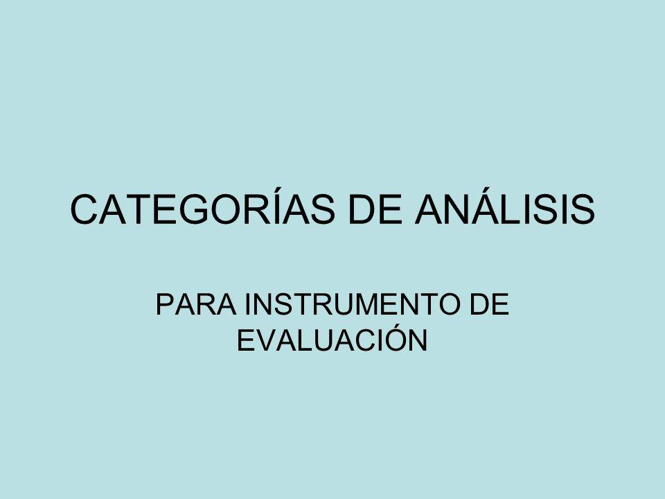 CATEGORÍAS DE ANÁLISIS PARA INSTRUMENTO DE EVALUACIÓN