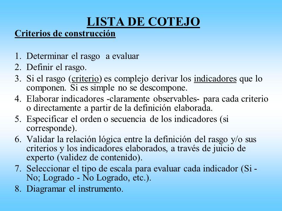 LISTA DE COTEJO Criterios de construcción 1.Determinar el rasgo a evaluar 2.Definir el rasgo. 3.Si el rasgo (criterio) es complejo derivar los indicad