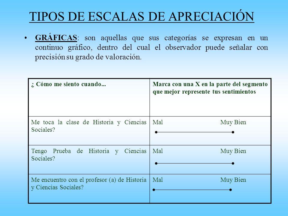 TIPOS DE ESCALAS DE APRECIACIÓN GRÁFICAS: son aquellas que sus categorías se expresan en un continuo gráfico, dentro del cual el observador puede seña