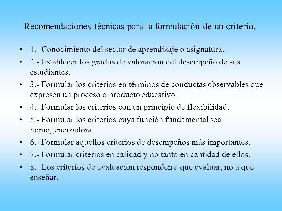 Recomendaciones técnicas para la formulación de un criterio. 1.- Conocimiento del sector de aprendizaje o asignatura. 2.- Establecer los grados de val