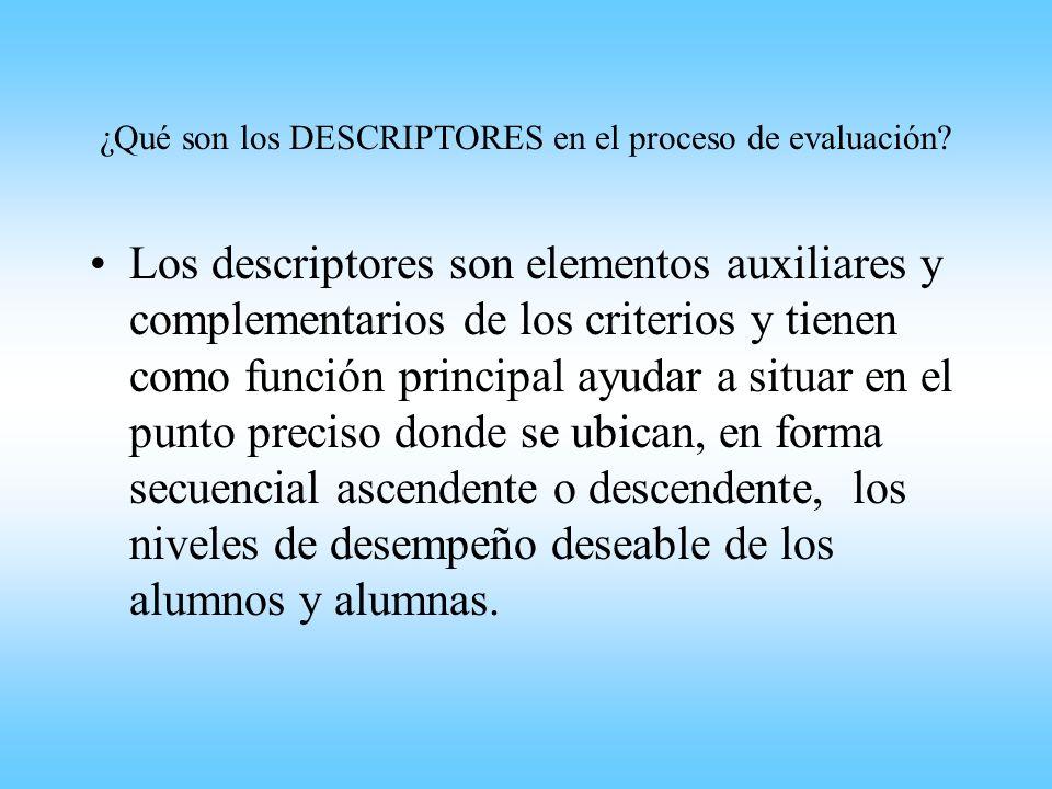 ¿Qué son los DESCRIPTORES en el proceso de evaluación? Los descriptores son elementos auxiliares y complementarios de los criterios y tienen como func