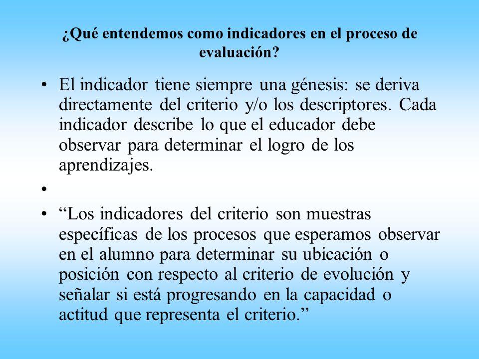 ¿Qué entendemos como indicadores en el proceso de evaluación? El indicador tiene siempre una génesis: se deriva directamente del criterio y/o los desc