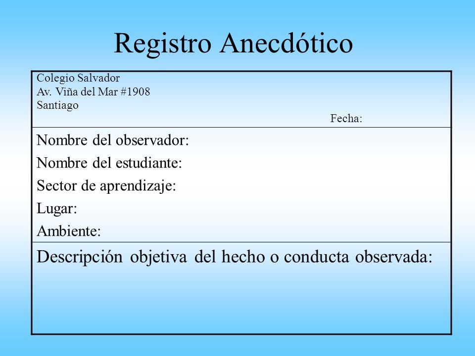 Registro Anecdótico Colegio Salvador Av. Viña del Mar #1908 Santiago Fecha: Nombre del observador: Nombre del estudiante: Sector de aprendizaje: Lugar