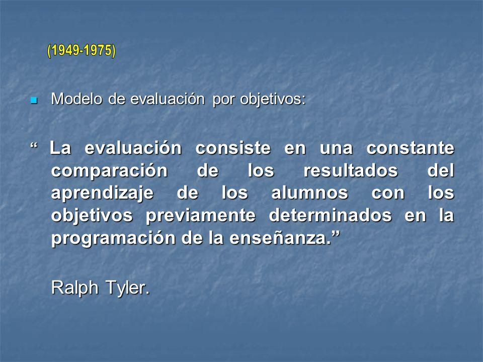 Modelo de evaluación por objetivos: Modelo de evaluación por objetivos: La evaluación consiste en una constante comparación de los resultados del apre