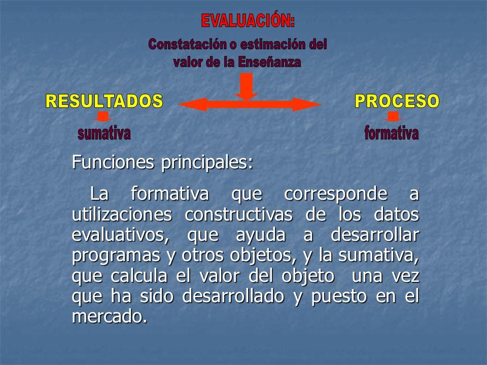 Funciones principales: La formativa que corresponde a utilizaciones constructivas de los datos evaluativos, que ayuda a desarrollar programas y otros