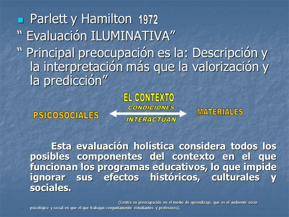 Parlett y Hamilton Parlett y Hamilton Evaluación ILUMINATIVA Evaluación ILUMINATIVA Principal preocupación es la: Descripción y la interpretación más