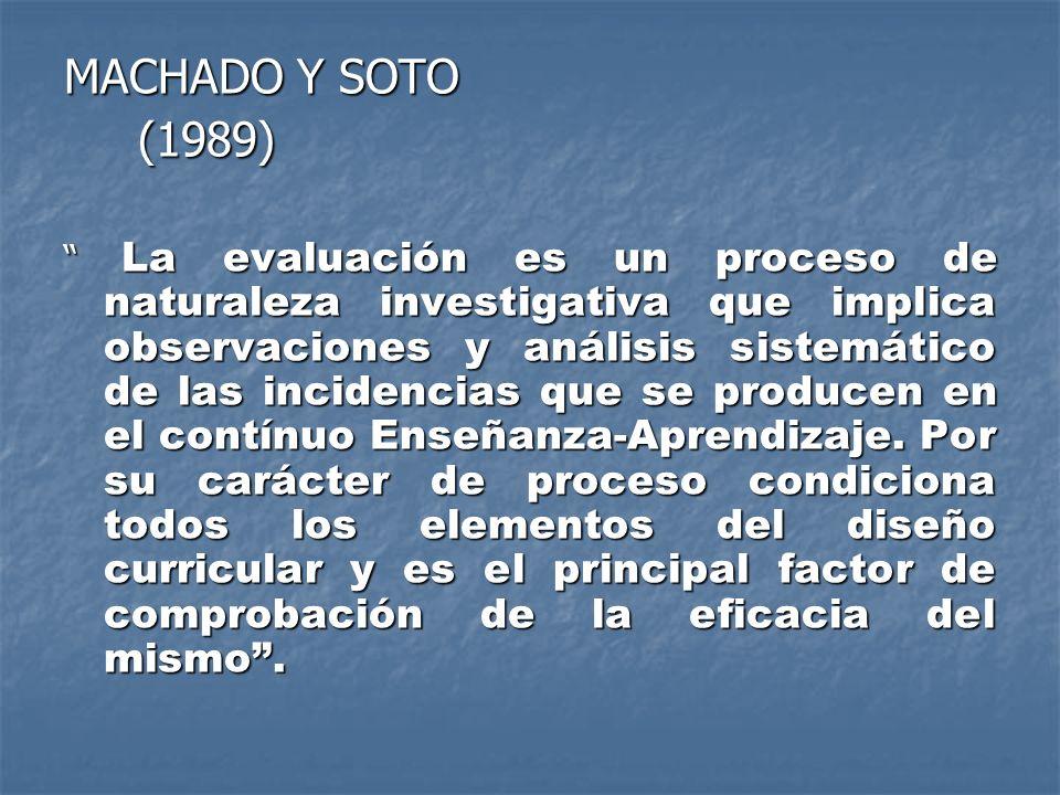 MACHADO Y SOTO (1989) (1989) La evaluación es un proceso de naturaleza investigativa que implica observaciones y análisis sistemático de las incidenci