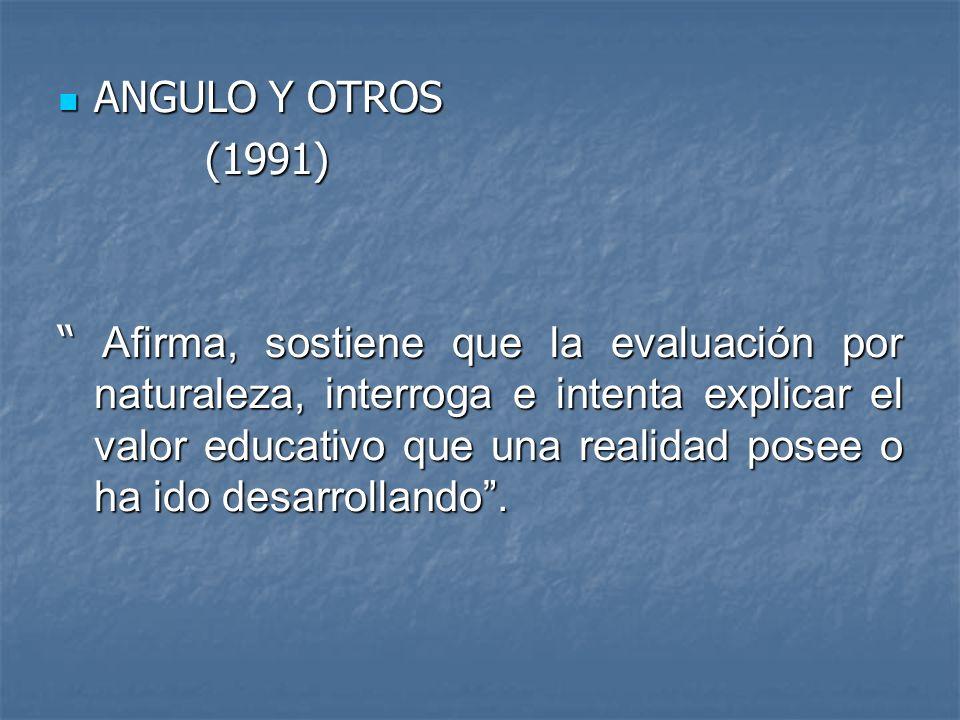 ANGULO Y OTROS ANGULO Y OTROS (1991) (1991) Afirma, sostiene que la evaluación por naturaleza, interroga e intenta explicar el valor educativo que una