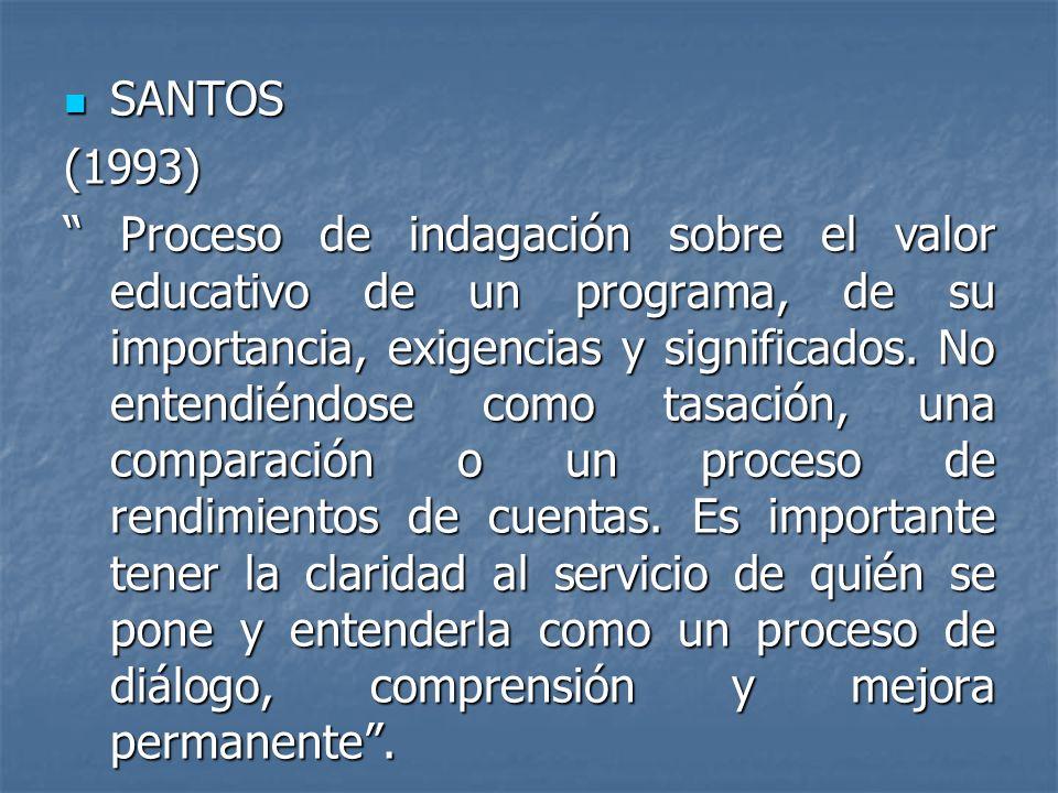 SANTOS SANTOS(1993) Proceso de indagación sobre el valor educativo de un programa, de su importancia, exigencias y significados. No entendiéndose como