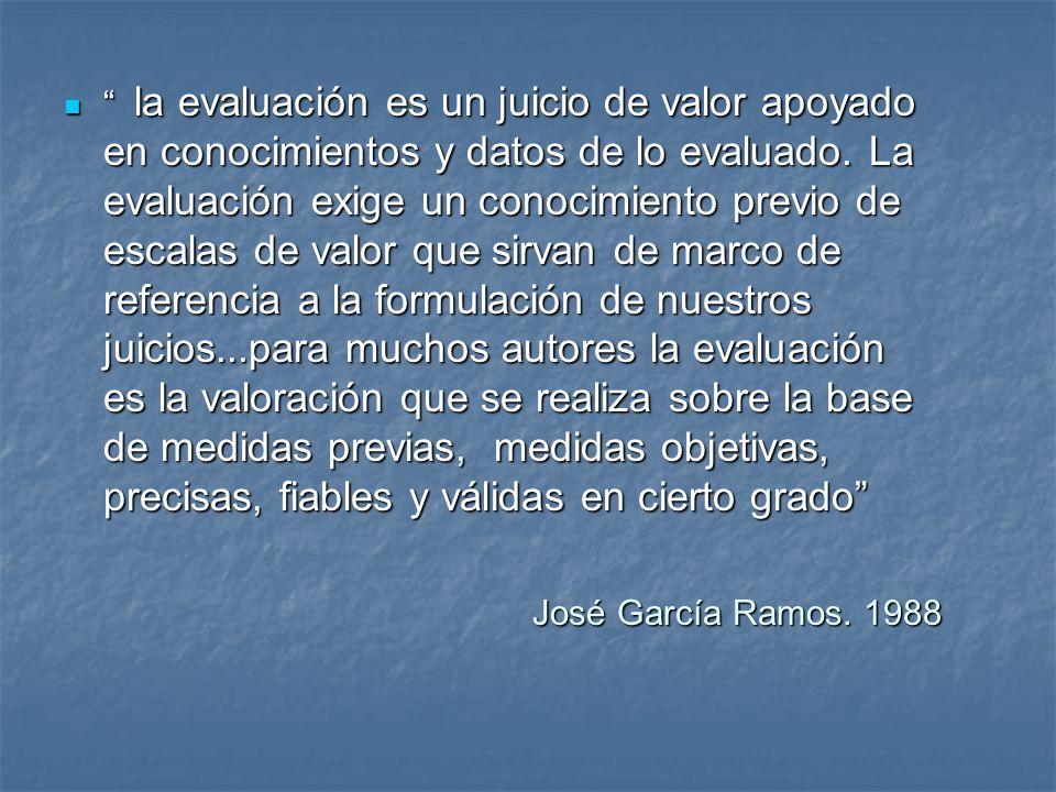José García Ramos. 1988 José García Ramos. 1988 la evaluación es un juicio de valor apoyado en conocimientos y datos de lo evaluado. La evaluación exi