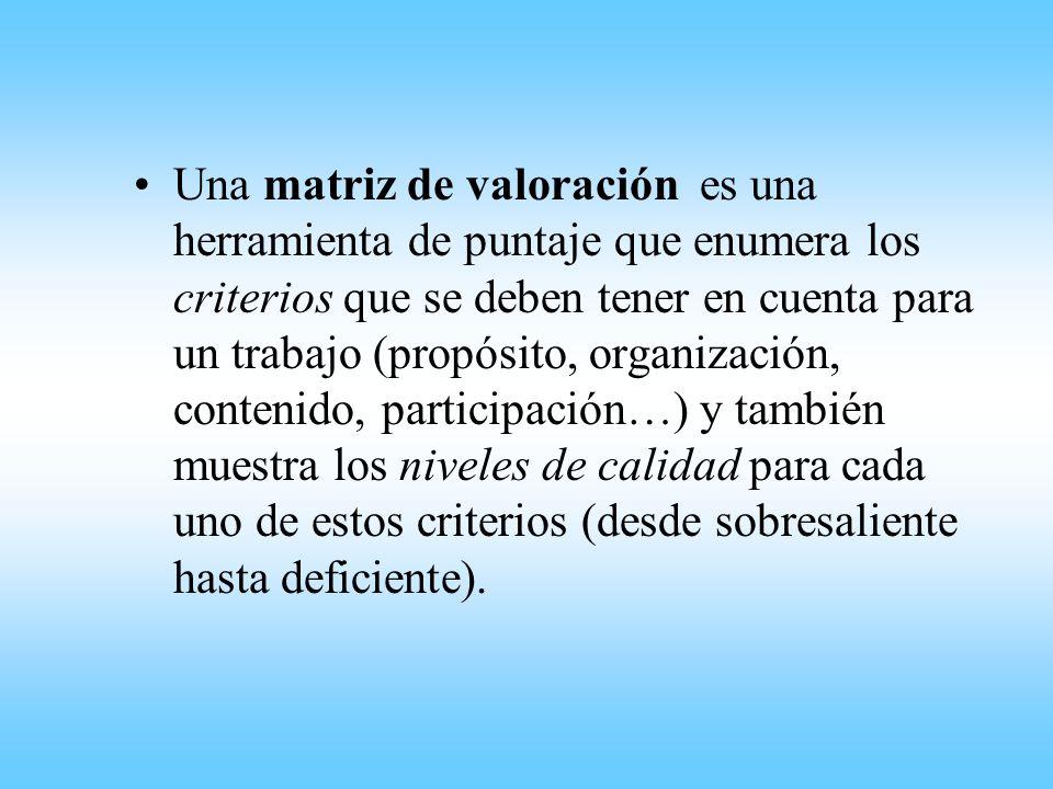 Una matriz de valoración es una herramienta de puntaje que enumera los criterios que se deben tener en cuenta para un trabajo (propósito, organización