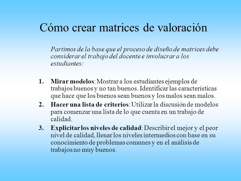 Partimos de la base que el proceso de diseño de matrices debe considerar el trabajo del docente e involucrar a los estudiantes: 1.Mirar modelos: Mostr