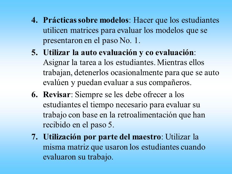 4.Prácticas sobre modelos: Hacer que los estudiantes utilicen matrices para evaluar los modelos que se presentaron en el paso No. 1. 5.Utilizar la aut